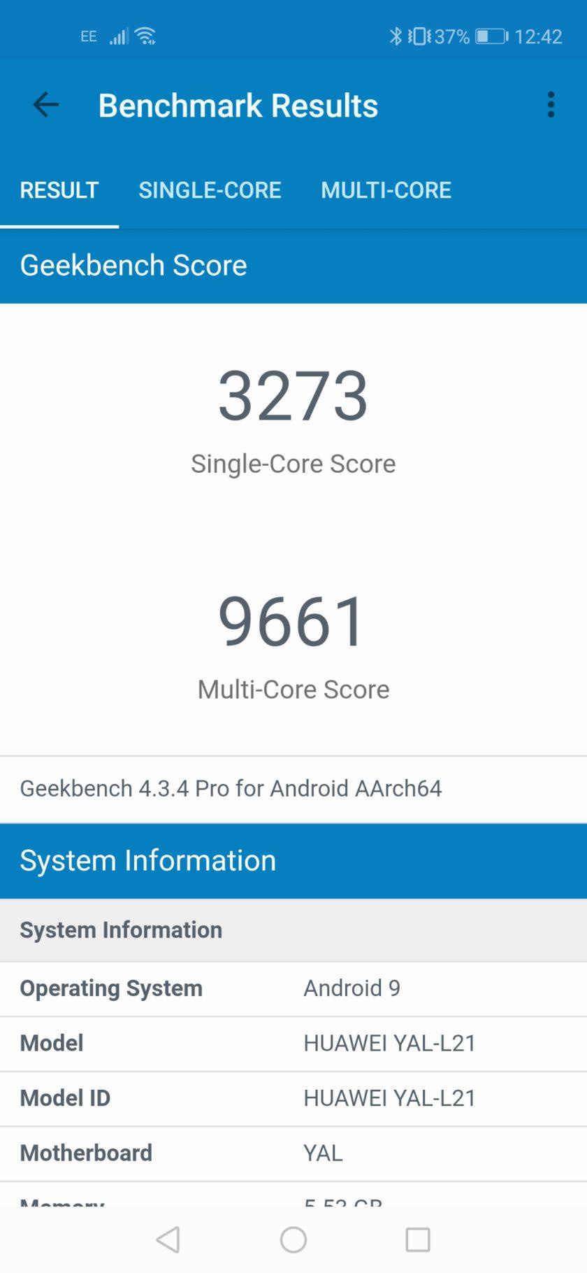 Honor 20 geekbench benchmark screenshot
