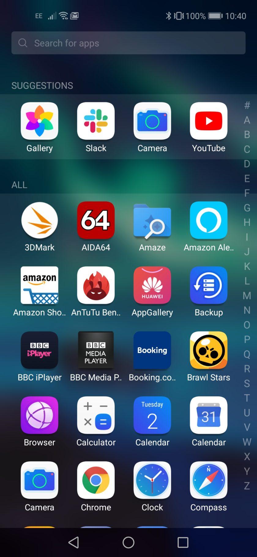 Honor 20 Magic UI app drawer screenshot