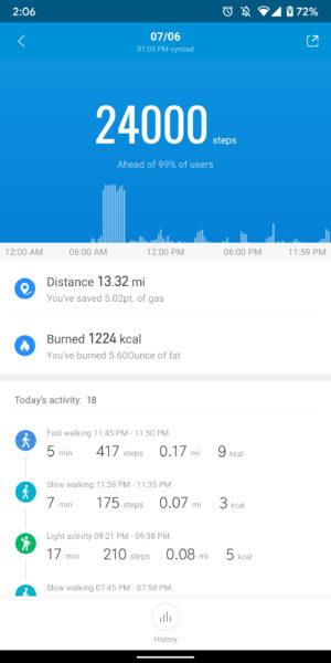 xiaomi mi band 4 review mi fit app history