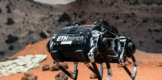 Bouncing robot for low-gravity space missions has a spring in its step