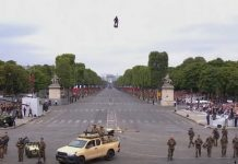 Flyboard Air soars over Paris during France's national day celebrations