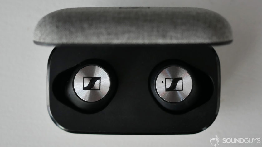 A photo of the Sennheiser Momentum True Wireless in its case.