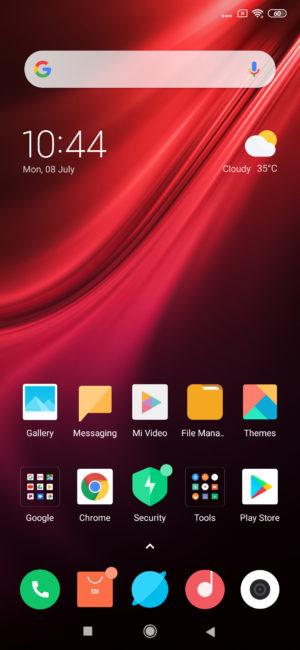Redmi K20 Pro homescreen