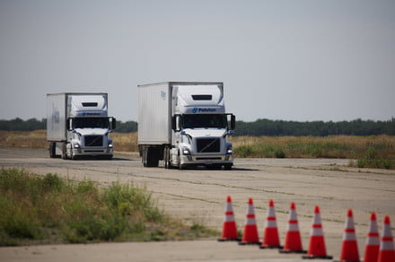 Smart assistive driving tech allows one truck driver to control multiple trucks