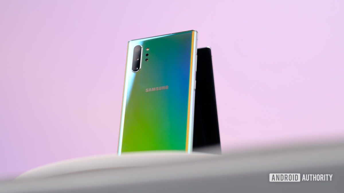 Samsung Galaxy Note 10 Plus Aura Glow back at angle 2