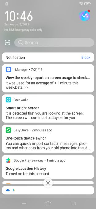 Vivo S1 notifications shade