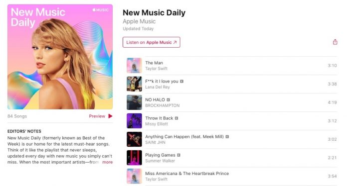 Apple Music Replaces 'Best of the Week' Playlist With 'New Music Daily'