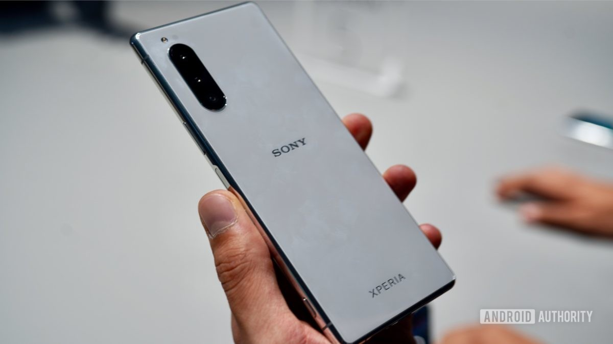 Sony Xperia 5 white in hand