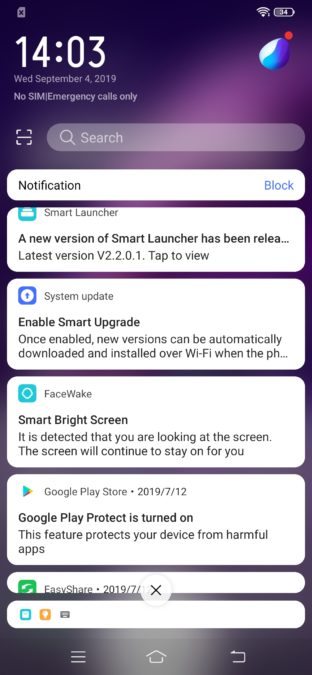 Vivo Z1x shortcut drawer