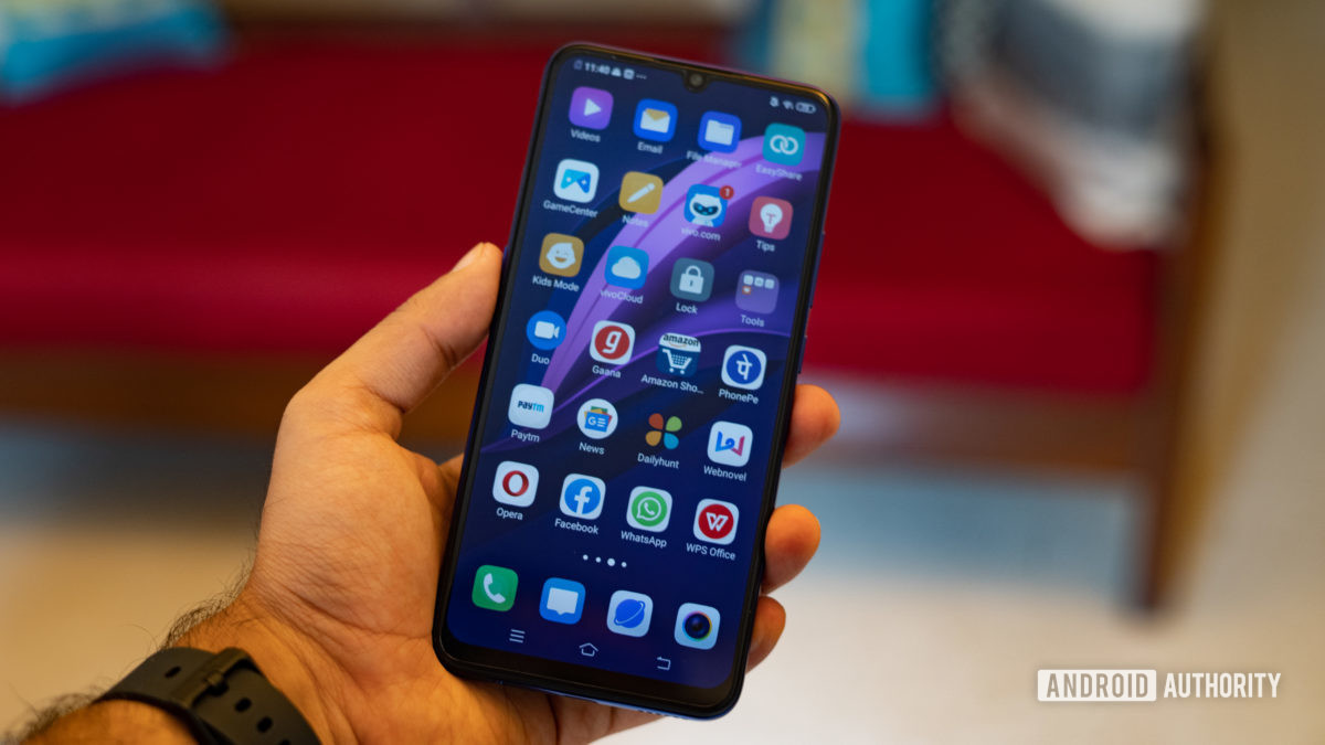 Vivo Z1x in hand showing app drawer