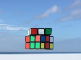 Watch this Rubik's Cube solve itself while floating in mid-air