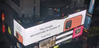 Google Pixel 4 billboard spotted in Times Square shows off new coral color