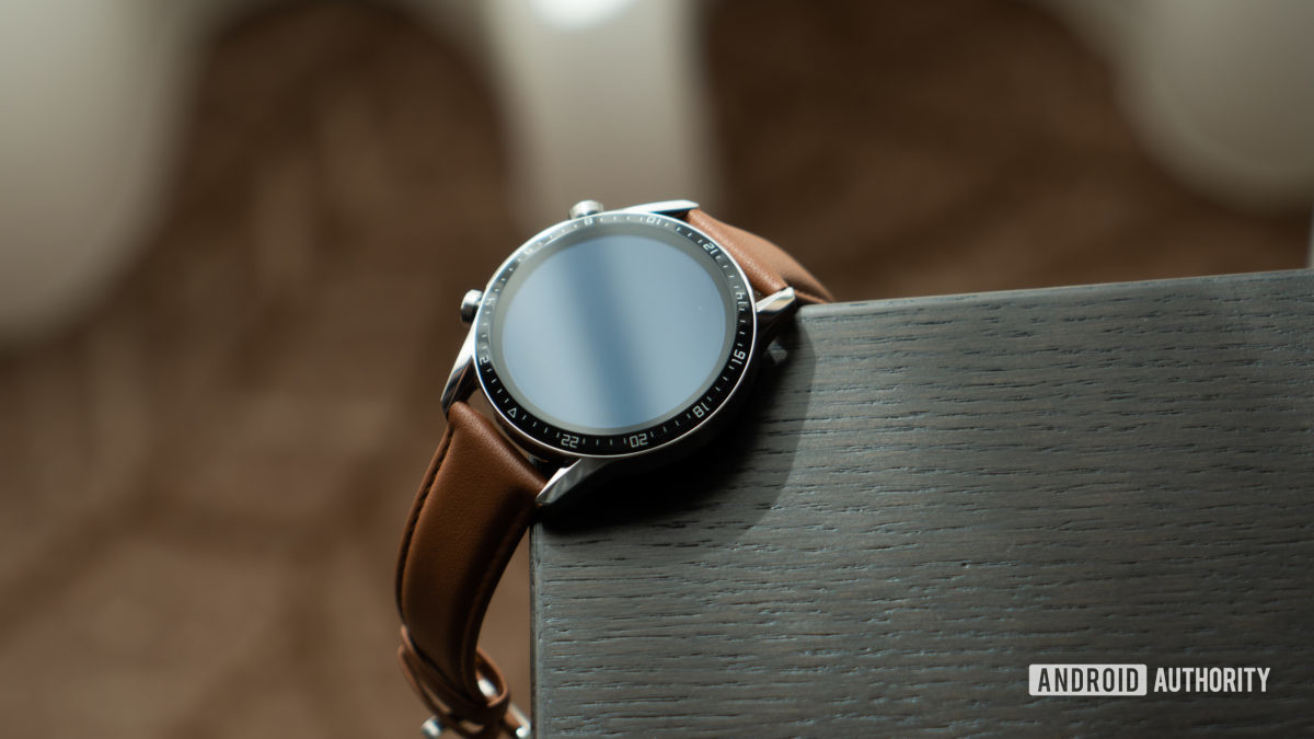 Huawei Watch GT 2 on table at angle