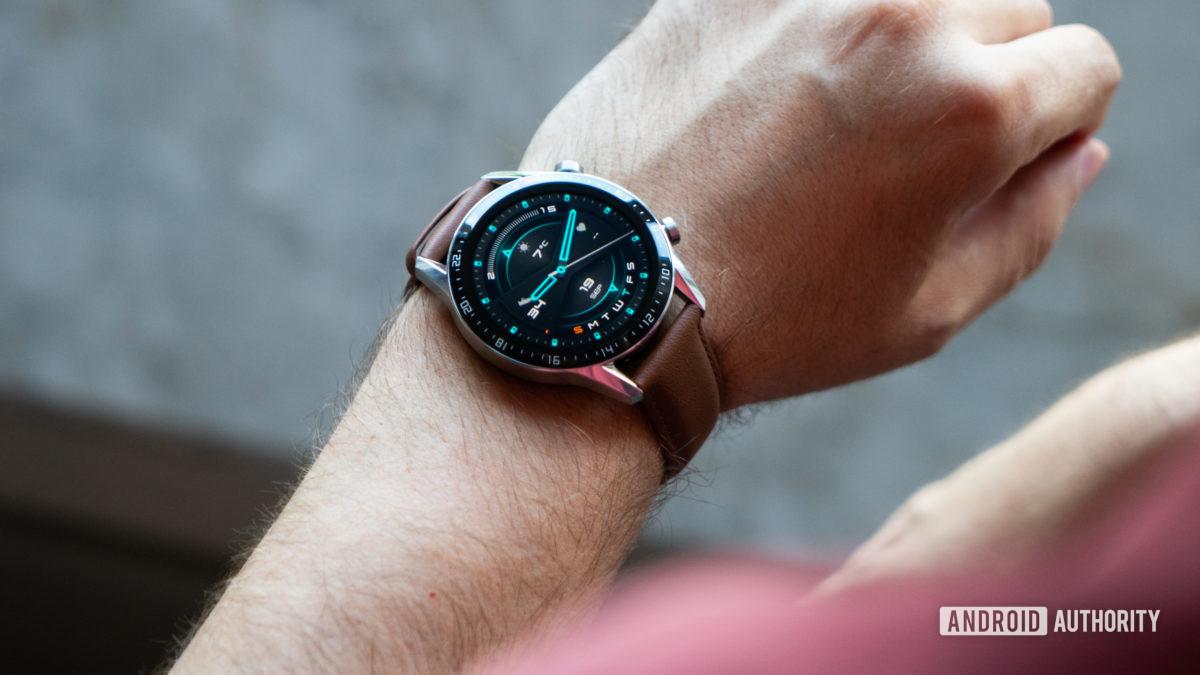 Huawei Watch GT 2 on wrist watch face on 2