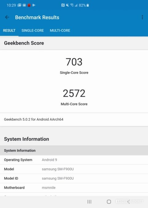 Samsung Galaxy Fold review Geekbench 5