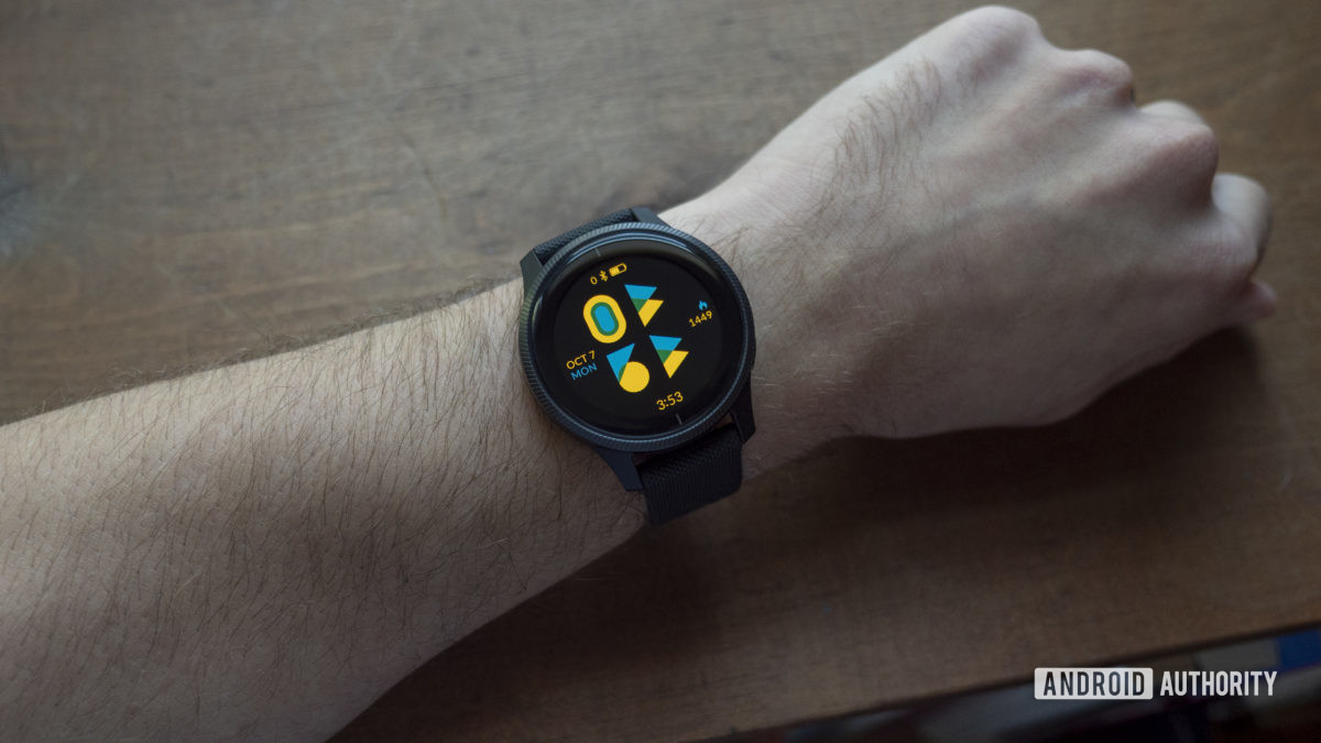 garmin venu review watch face on wrist