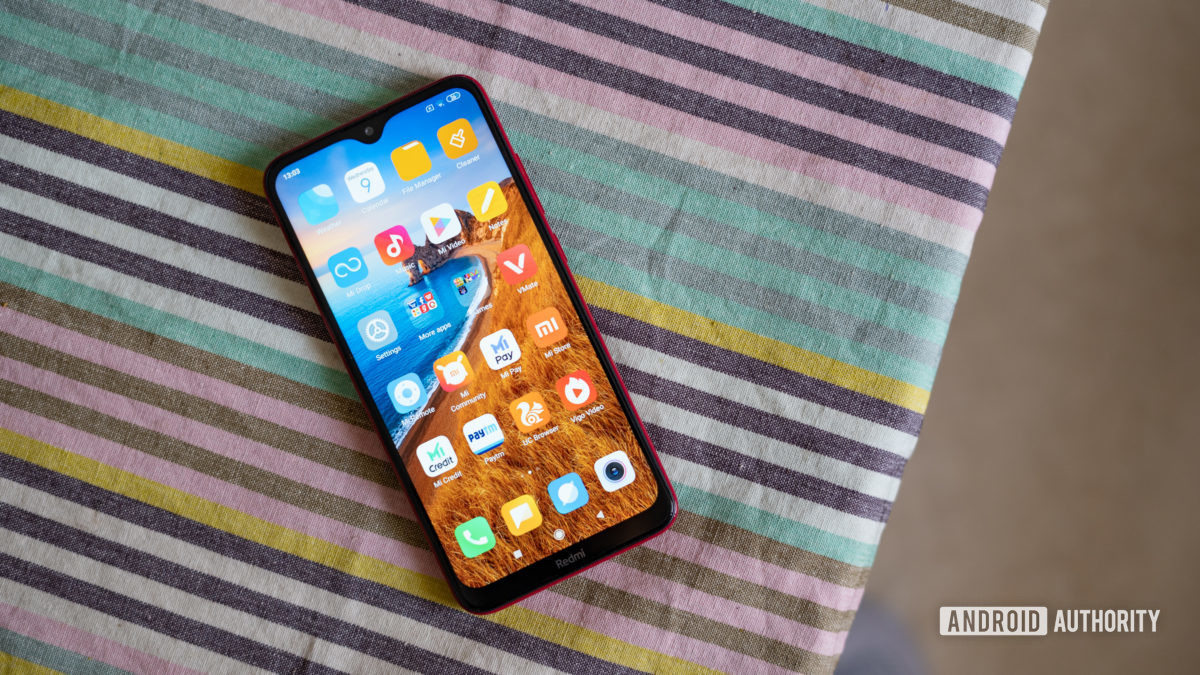 Redmi 8 on table showing display and notch
