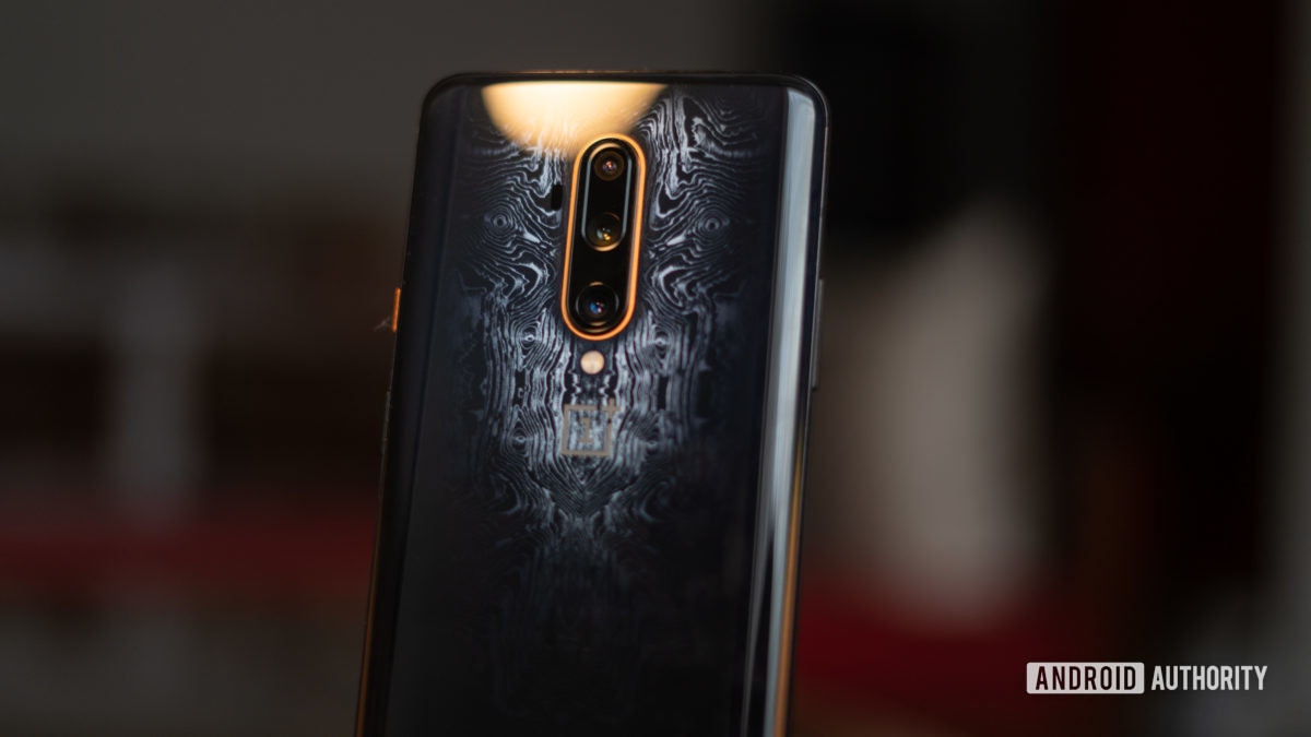 OnePlus 7T Pro McLaren Edition camera module showing pattern design