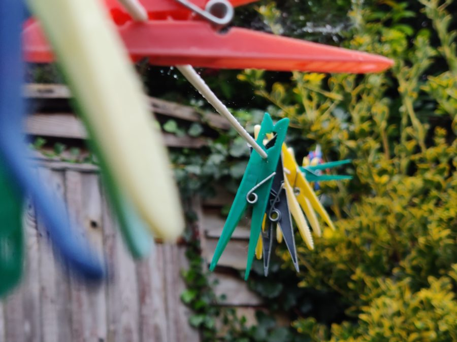 OnePlus 7T Pro Camera Sample Color shot of clothes pegs in a British garden