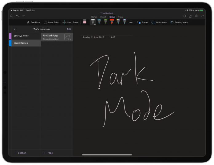 Microsoft OneNote for iOS Gains Dark Mode Support