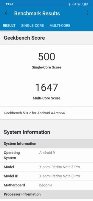 Redmi Note 8 Pro Geekbench benchmark resuts