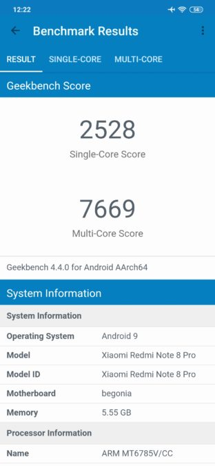 Redmi Note 8 Pro Geekbench 4 results