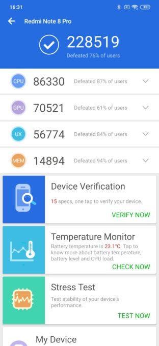 Redmi Note 8 Pro AnTuTu benchmark results