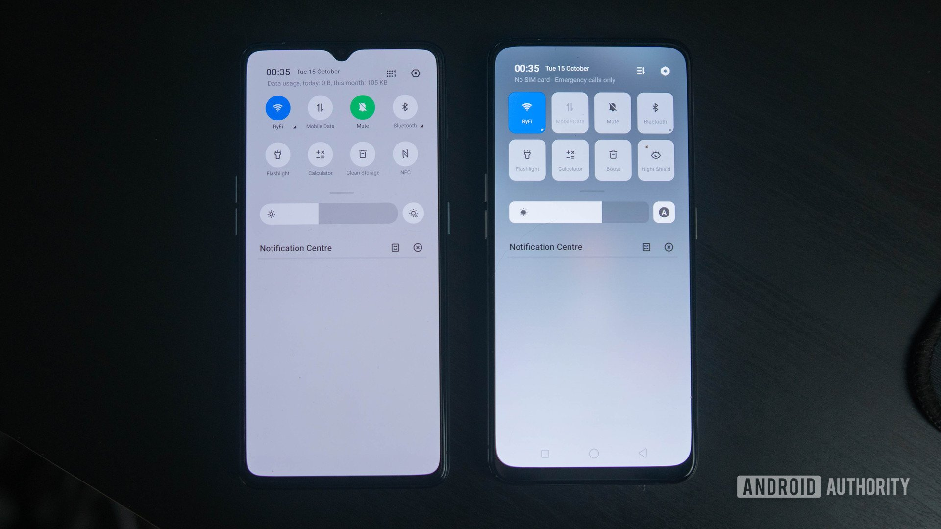 Realme X2 Pro quick settings comparison to Realme X