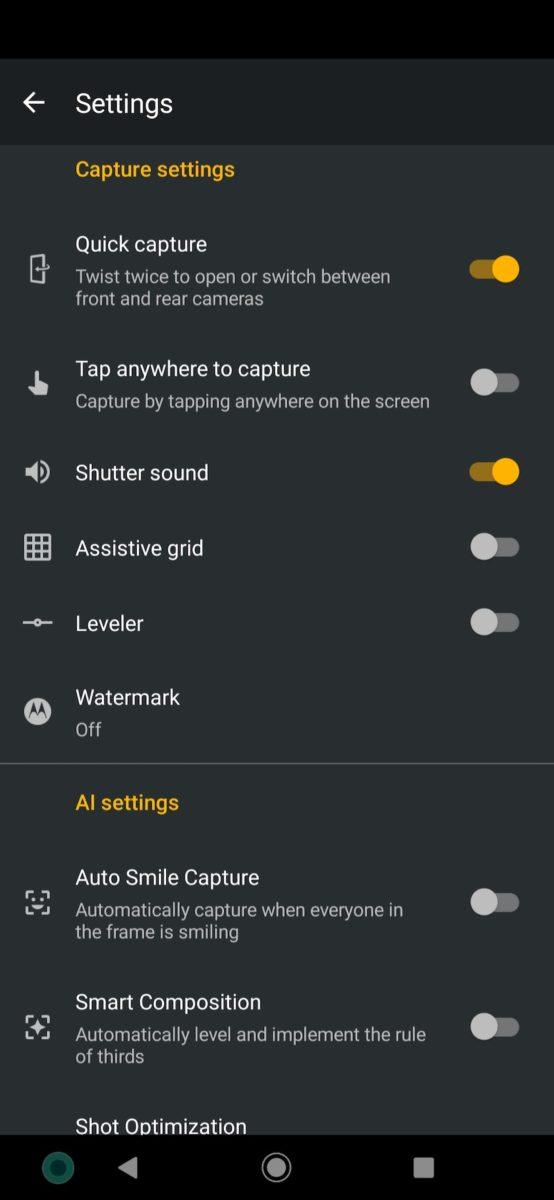 Motorola One Zoom review more camera settings