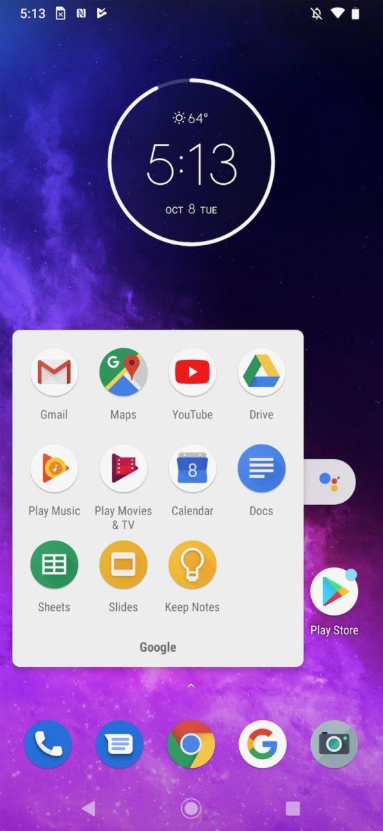 Motorola One Zoom review home screen