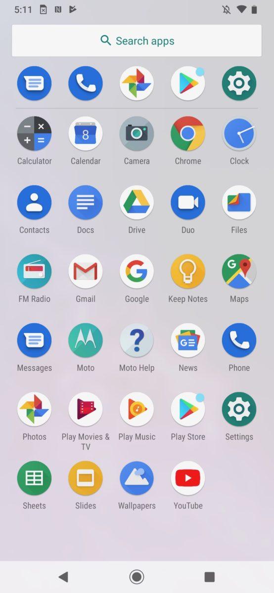 Motorola One Zoom review app drawer