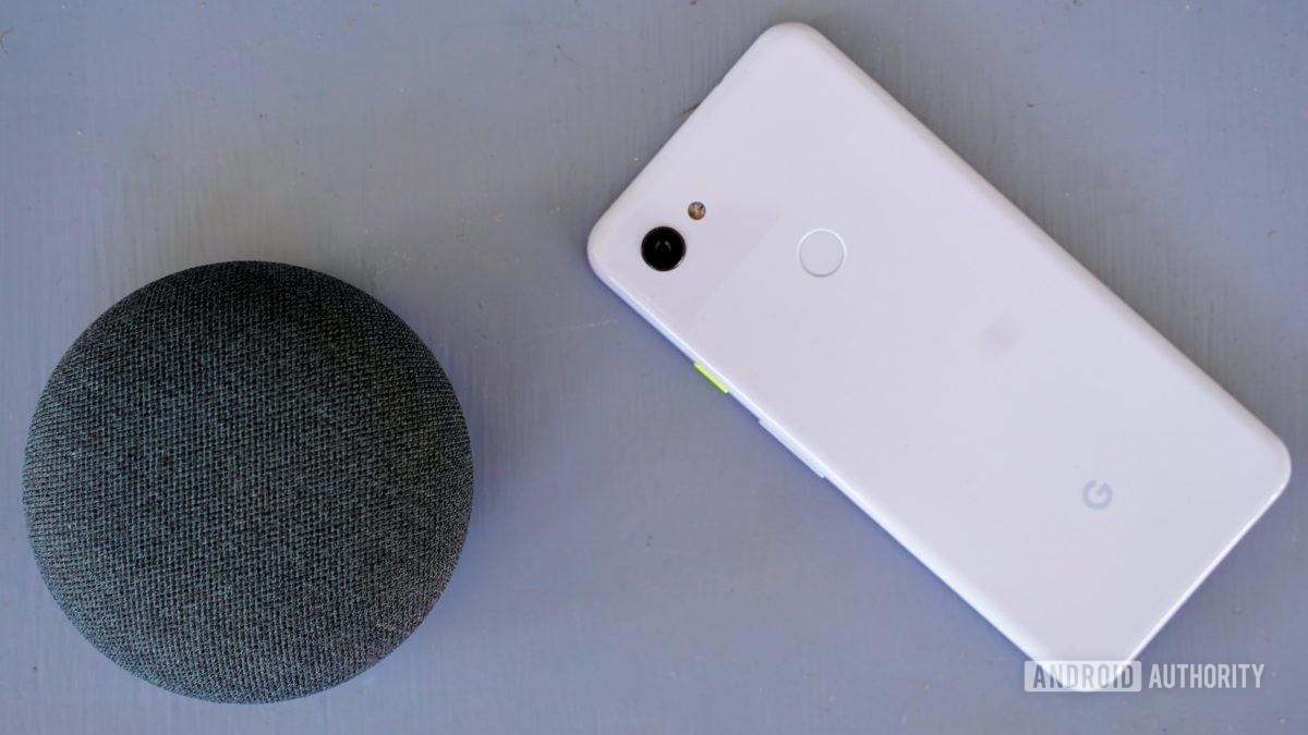 Google Nest Mini on purple table