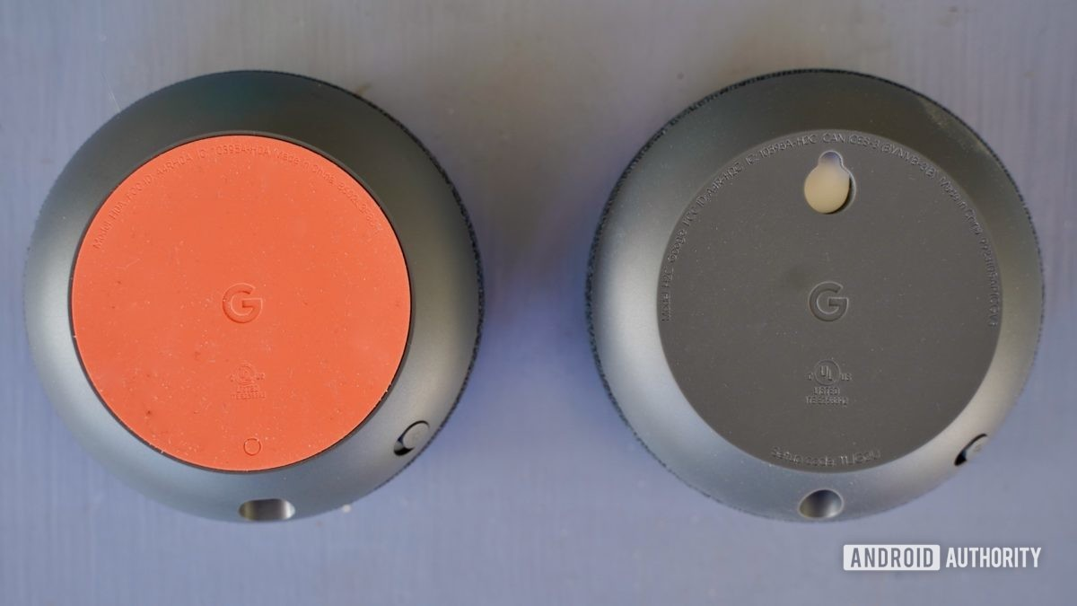 Google Nest Mini with Home Mini bottom