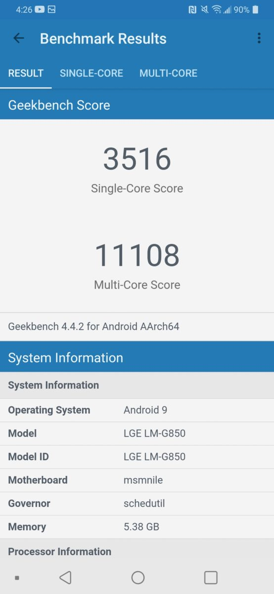 LG G8X ThinQ Review benchmark Geenkbench
