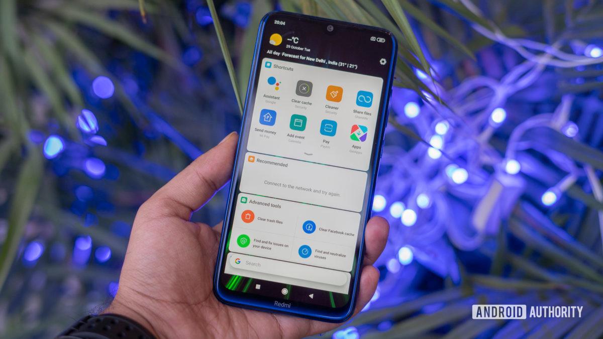 Redmi Note 8 displaying hub panel