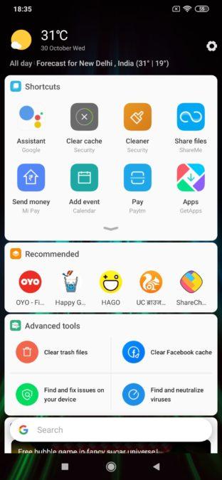 Redmi Note 8 shortcuts drawer 1