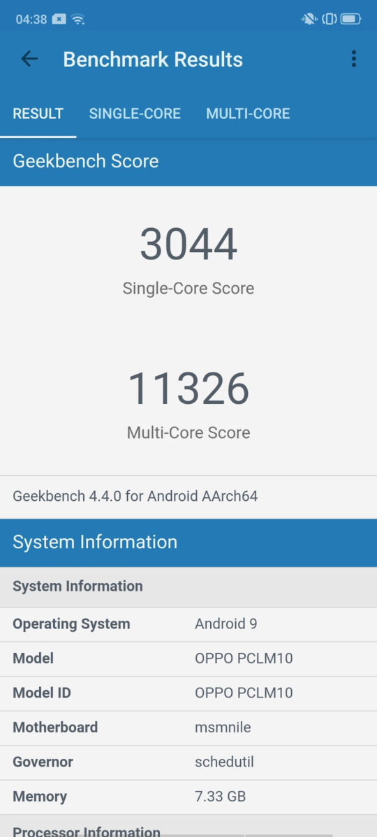 Oppo Reno Ace review geekbench