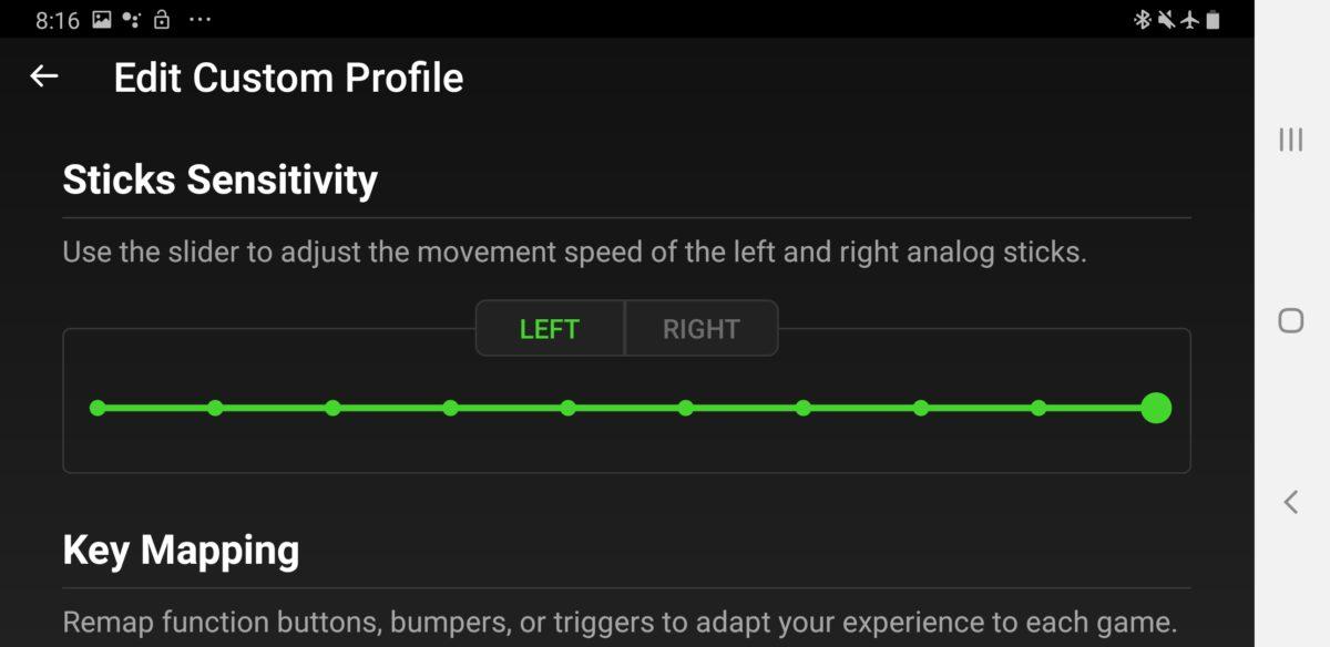 Razer Gamepad app Junglecat joystick sensitivity control