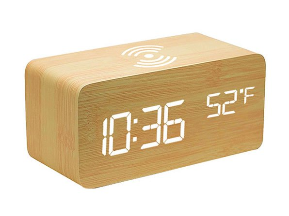 For less than $20 you can get this LED wooden alarm clock with wireless charging