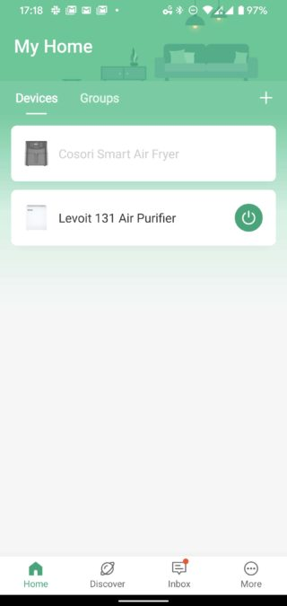 VeSync app Levoit air purifier and Cosori Air Fryer