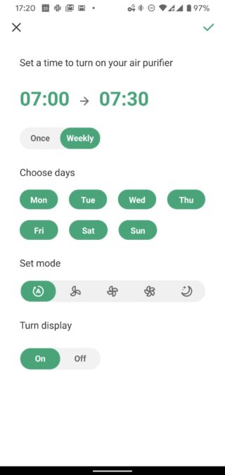VeSync app Levoit air purifier schedule