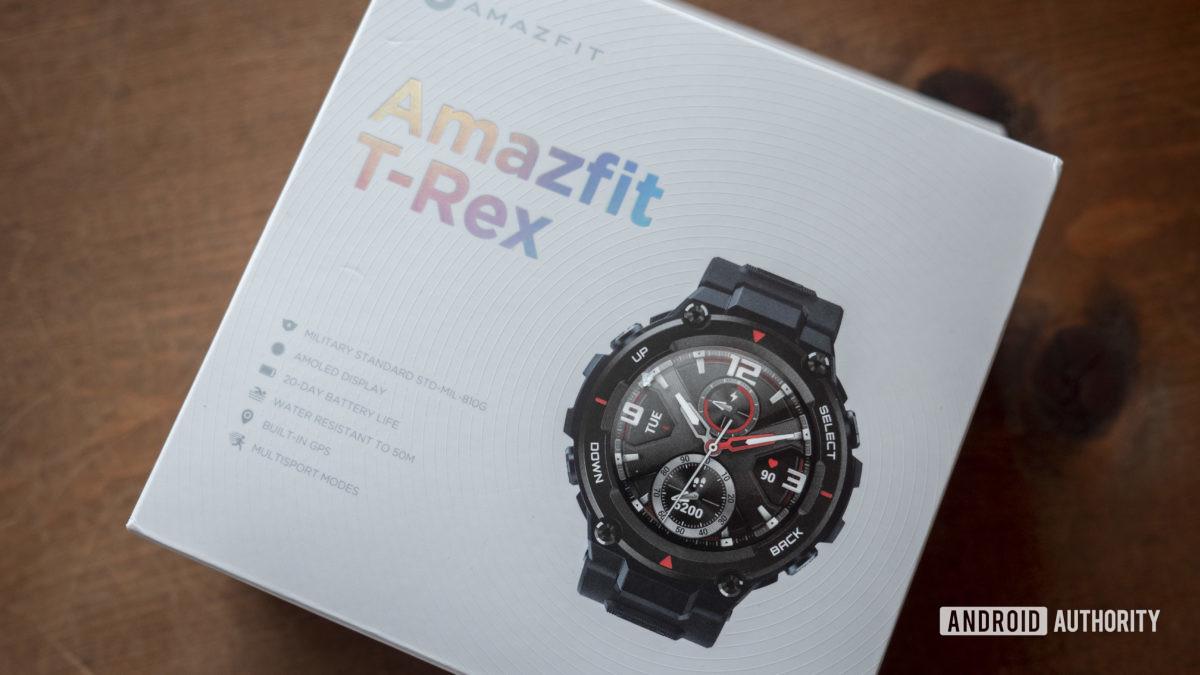 huami amazfit t rex smartwatch box