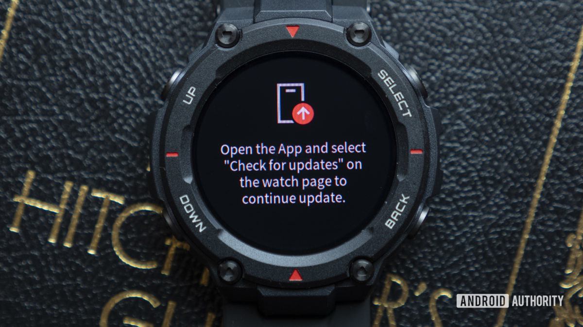 huami amazfit t rex smartwatch open the app and select check for updates display message