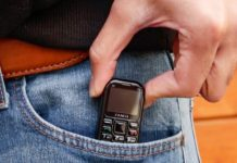 This tiny cell phone is the size of a USB stick, and it has a 7-day battery