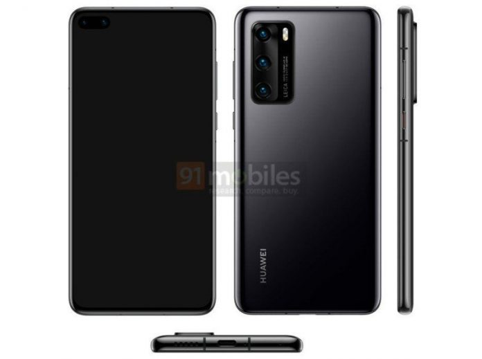 Leaked Huawei P40 render shows dual hole-punch display, triple rear cameras