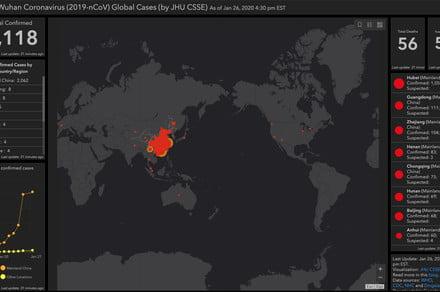 Coronavirus: Online dashboard tracks the spread of cases globally