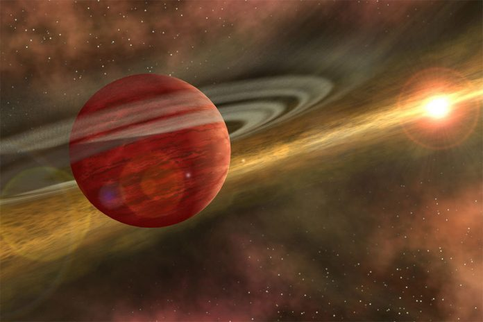 Baby gas giant discovered wandering far from its parent star