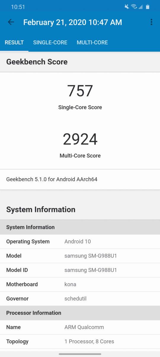 Samsung Galaxy S20 Ultra GeekBench
