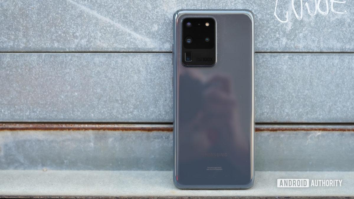 Samsung Galaxy S20 Ultra against metal door