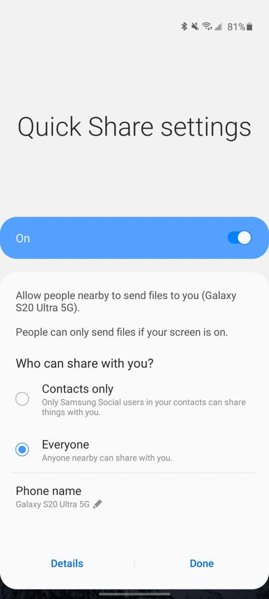 Samsung Galaxy S20 Ultra Quick Share 1